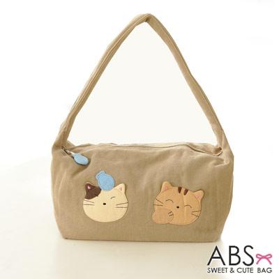 ABS貝斯貓 可愛貓咪手工拼布肩背包 手提包(淺卡其)88-021