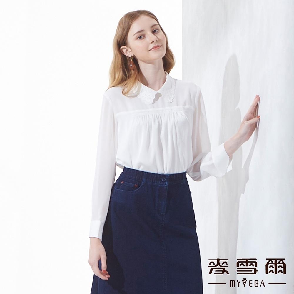 麥雪爾 蝴蝶刺繡領片雪紡長袖上衣-白