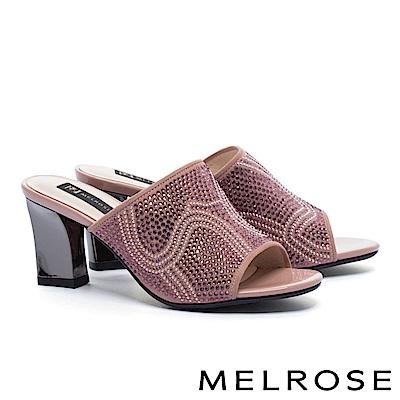 拖鞋 MELROSE 復古奢華晶鑽羊麂皮粗高跟拖鞋-粉