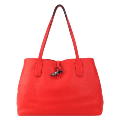 LONGCHAMP ROSEAU ESSENTIAL 竹節托特包(中/紅)