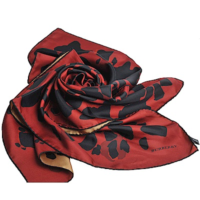 BURBERRY 義大利製品牌LOGO豹紋圖騰絲領巾(紅/駝/90x90cm)