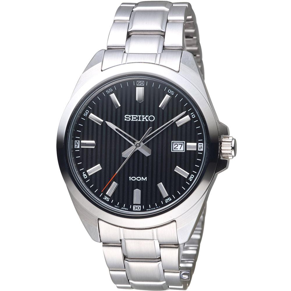 SEIKO 精工 時尚紳士腕錶(SUR277P1)黑/42mm