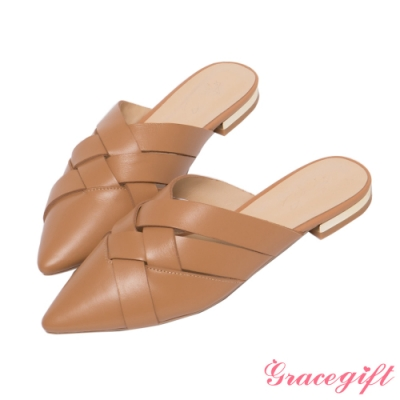 Grace gift X Annie-聯名真皮編織穆勒低跟鞋 棕