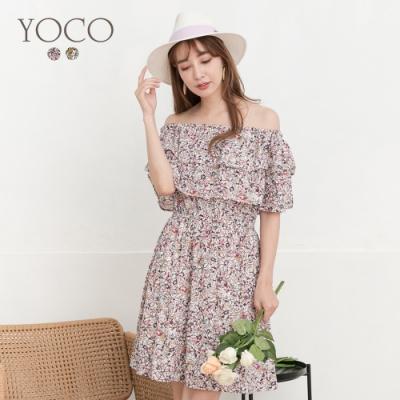 東京著衣-YOCO 浪漫柔美兩穿鬆緊荷葉平口碎花洋裝-S.M.L(共二色)