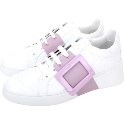 Roger Vivier Viv Skate 小牛皮繫帶方釦運動鞋(白色)