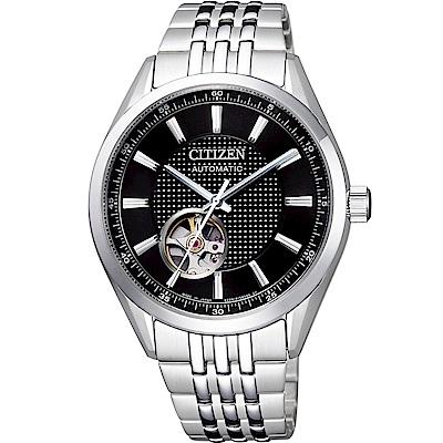 CITIZEN星辰 限量鏤空紳士機械錶(NH9110-81E)-黑/40mm