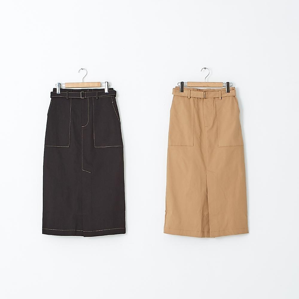 【KiKi】斜紋棉高彈開衩A字-女長裙(二色/版型適中)