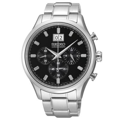 SEIKO精工   紳士指標三眼石英腕錶(SPC083P1)-黑面x42.5mm