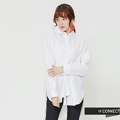 H:CONNECT 韓國品牌 女裝-不對稱純色襯衫-白