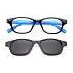 【 Z·ZOOM 】老花眼鏡 磁吸太陽眼鏡系列 時尚矩形粗框款(黑框藍身) product thumbnail 1