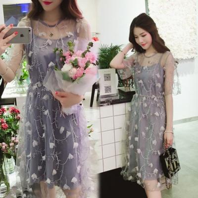 【韓國K.W.】(預購)最新時尚透視感洋裝-2色