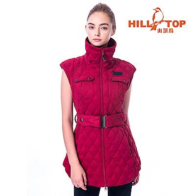 【hilltop山頂鳥】女款超撥水蓄熱羽絨背心F25FG6暗紅