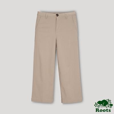 Roots女裝- 摩登週間系列 高腰平織寬褲-奶茶色