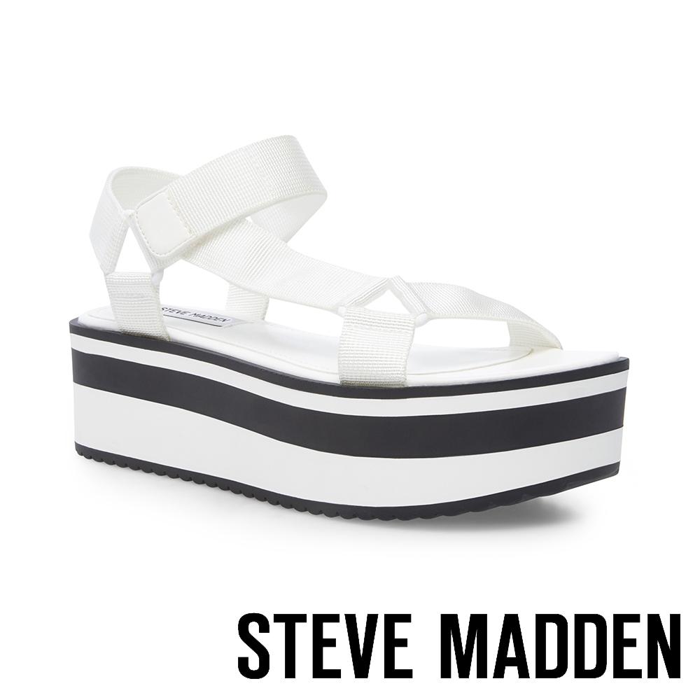 STEVE MADDEN-TONI 街頭名流時尚 魔鬼氈織帶厚底涼鞋-白色