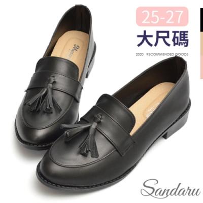 山打努SANDARU-大尺碼鞋 復古流蘇尖頭紳士鞋-黑