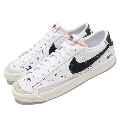 Nike 休閒鞋 Blazer Low 77 運動 男鞋 基本款 簡約 潑漆設計 球鞋 穿搭 白 黑 DJ1517100