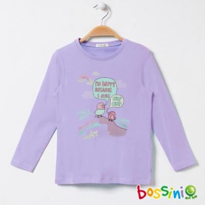 bossini女童-印花長袖T恤08淺紫