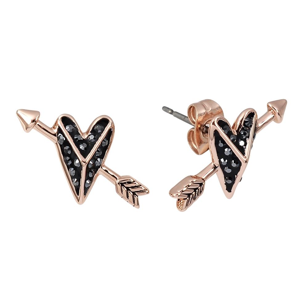 Karl Lagerfeld  K HEARTS 水晶愛心造型玫瑰金耳環