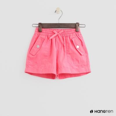 Hang Ten -童裝 - 素色綁帶捲邊休閒短褲 - 粉