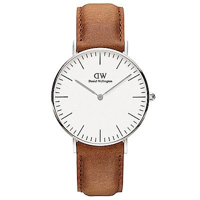 DW手錶 官方旗艦店 36mm銀框 Classic 淺棕真皮皮革手錶
