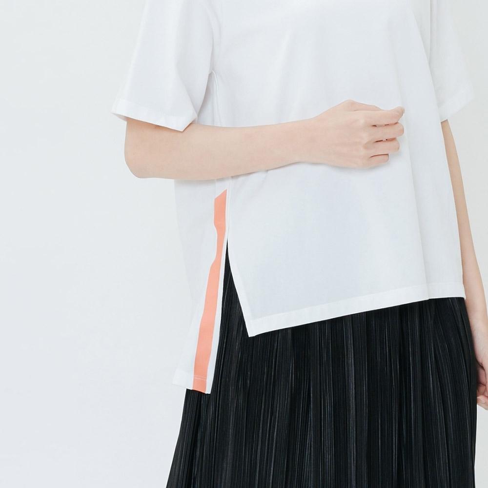 H:CONNECT 韓國品牌 女裝-撞色印字側開岔上衣-白