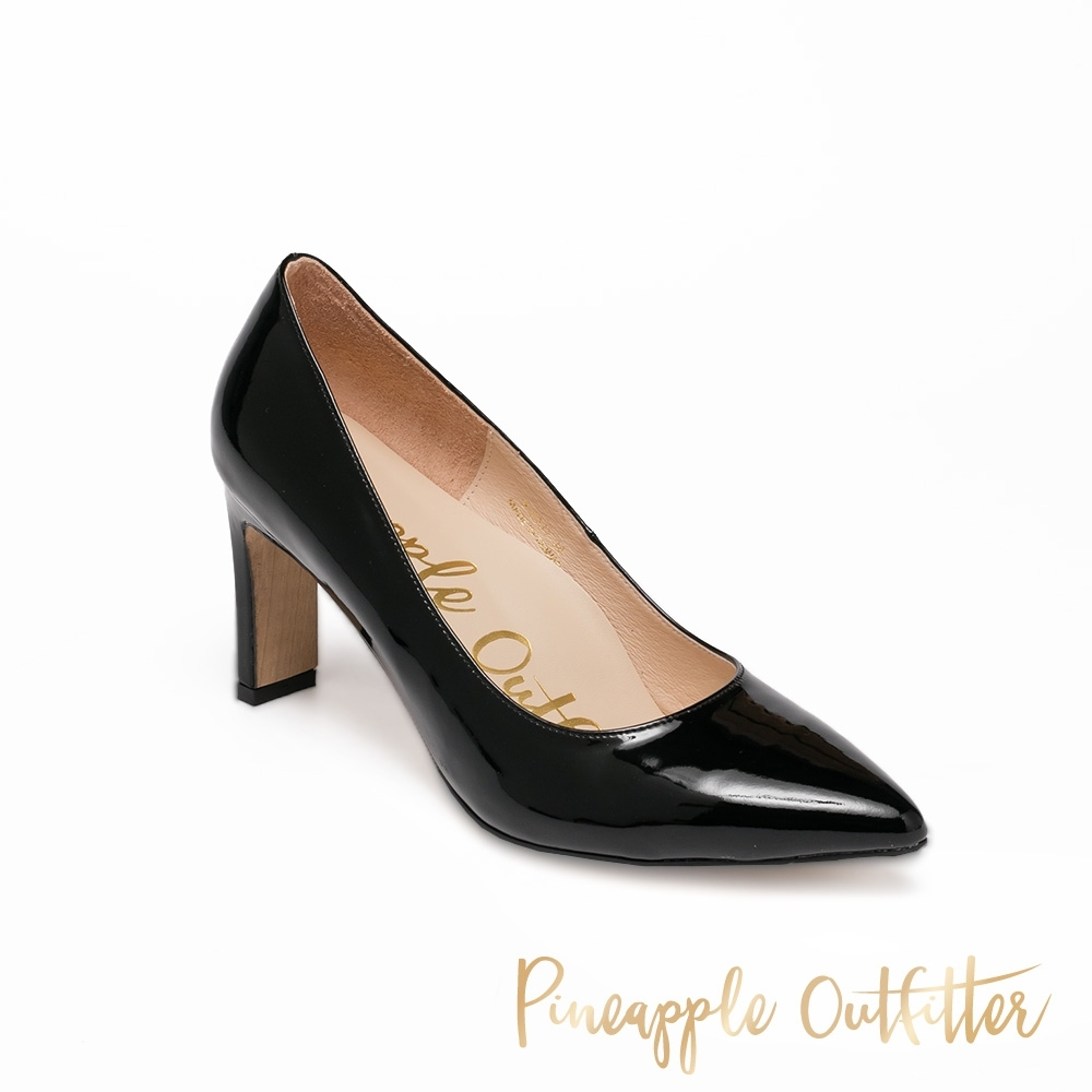 Pineapple Outfitter 經典百搭 扁粗跟素面尖頭高跟女鞋-黑色