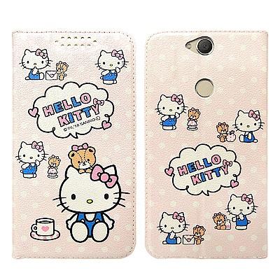 凱蒂貓 SONY Xperia XA2 Plus 粉嫩系列彩繪磁力皮套(小熊)