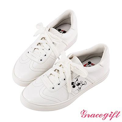 Disney collection by grace gift-復古風絨布休閒鞋 白