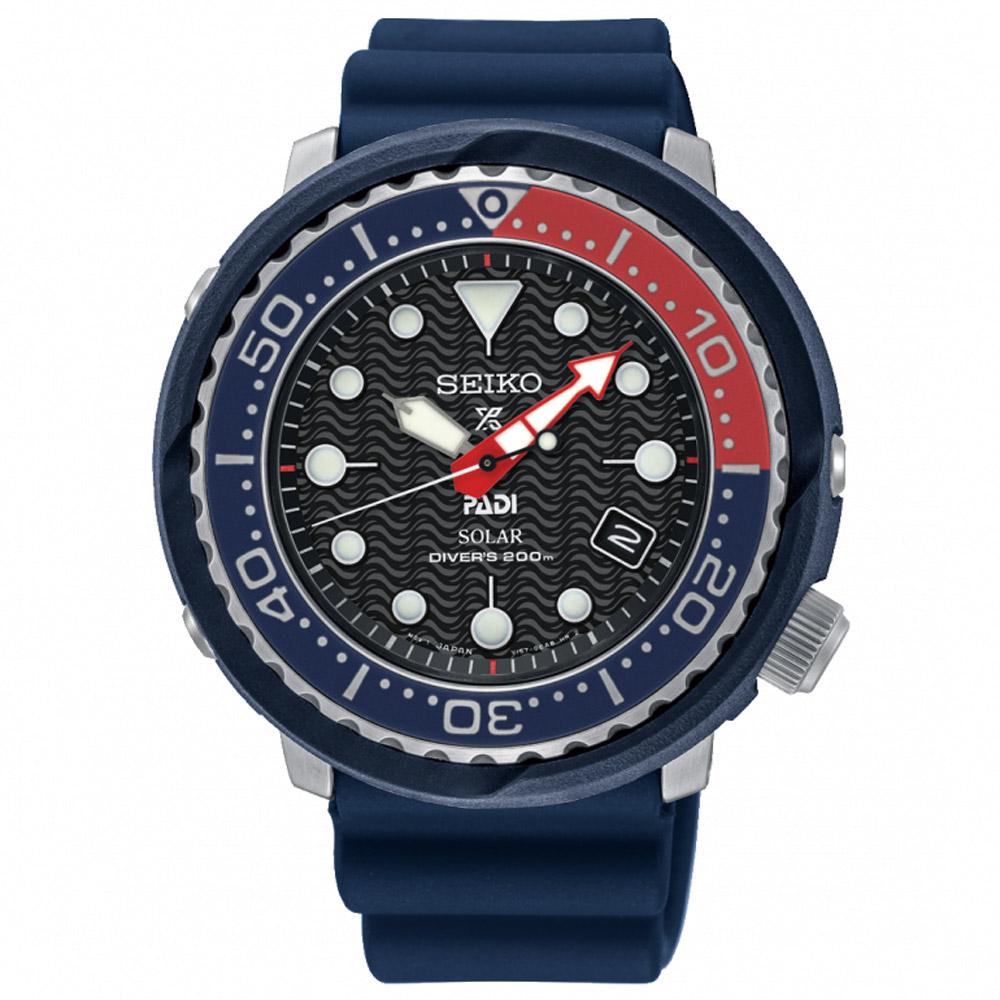 SEIKO精工 Prospex可樂小鮪魚太陽能潛水錶(SNE499P1)-黑/46.7mm