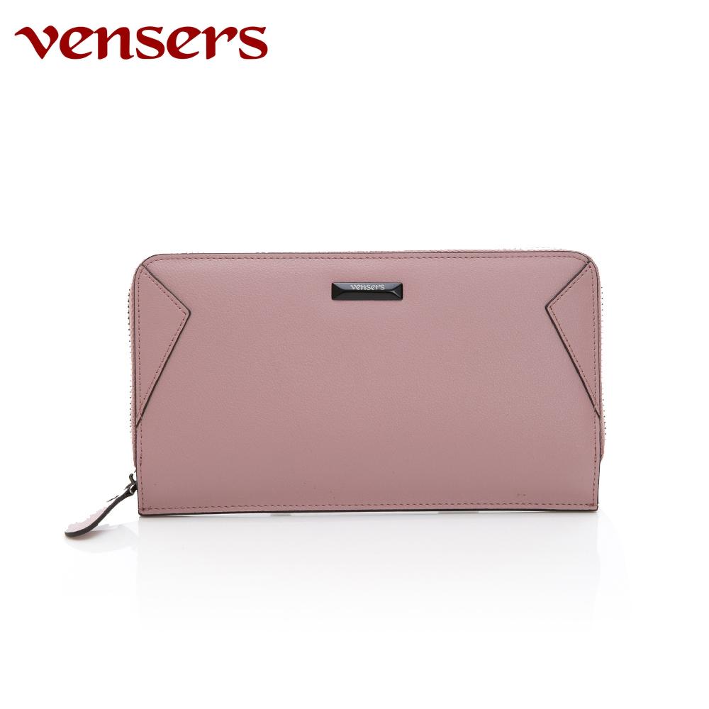 vensers 小牛皮潮流個性皮夾~(TA556102粉色長夾)