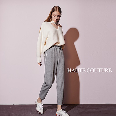 Haute Couture 高定系 時尚休閒高磅挺版造型長褲(兩色)-高冷灰