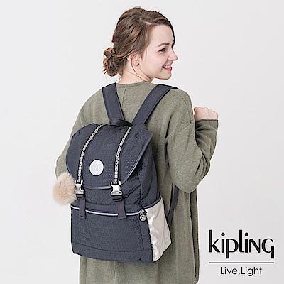 Kipling 後背包 深夜藍黑-中
