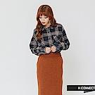 H:CONNECT 韓國品牌 女裝-單口袋格紋配色襯衫-藍