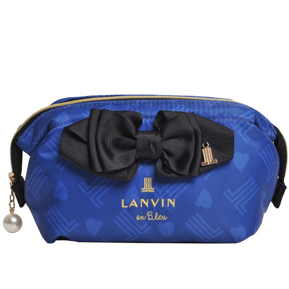 LANVIN en Bleu 品牌立體字母LOGO刺繡立體蝴蝶結化妝包(寶藍系) @ Y!購物
