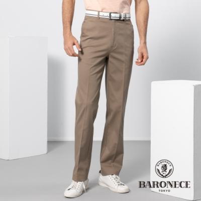 BARONECE 百諾禮士休閒商務  男裝 彈性素色平口休閒長褲-卡其色(1188890-85)