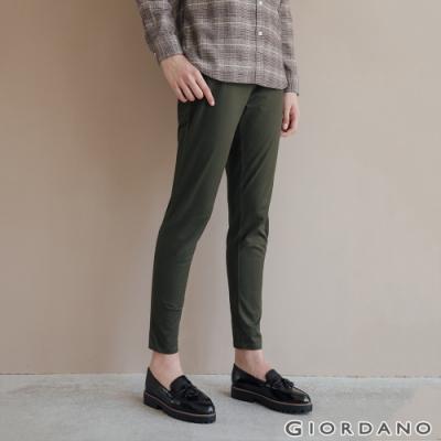 GIORDANO 女裝腰鬆緊修身休閒卡其褲-60深淵綠