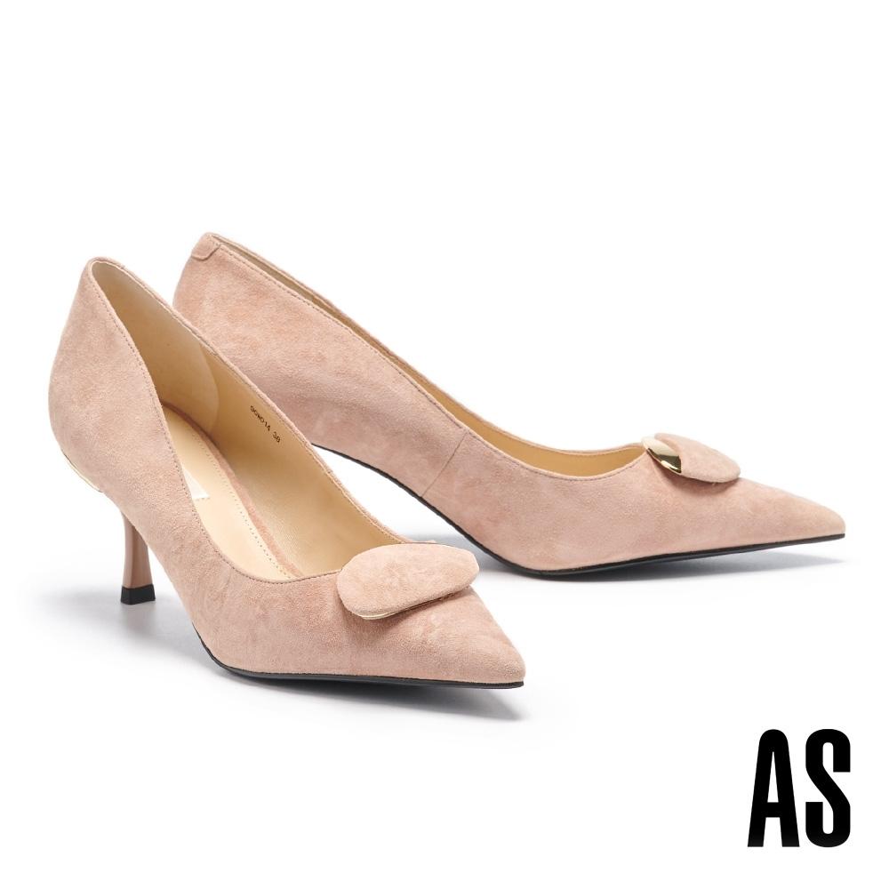 高跟鞋 AS 都會典雅金屬圓釦全羊皮尖頭高跟鞋-粉