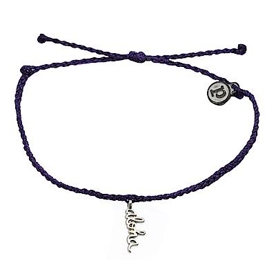 Pura Vida 美國手工 銀色ALOHA 深紫色臘線可調式手鍊防水衝浪手繩手鍊