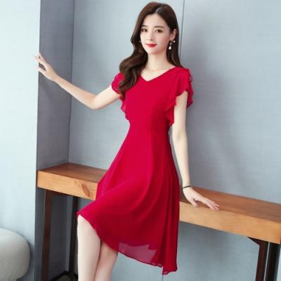 純色不規則下擺收腰顯瘦洋裝M-3XL(共二色)-REKO