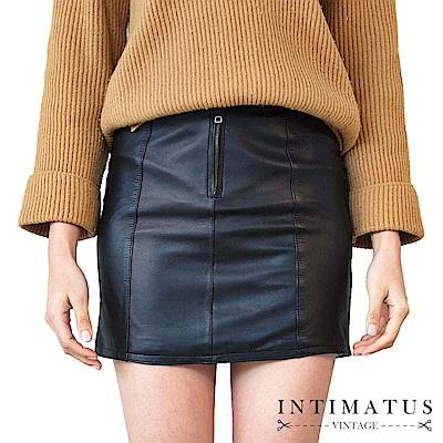 INTIMATUS 真皮 修身剪裁小羊皮皮短裙 經典黑