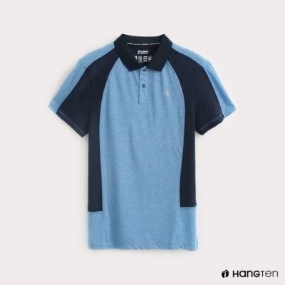 Hang Ten-ThermoContro-男裝色塊拼接機能POLO衫-藍