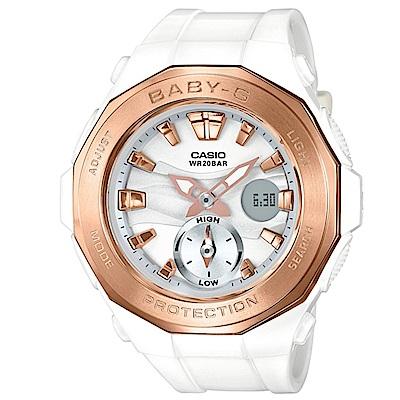 BABY-G 時尚風潮海灘豪華露營設計概念休閒錶(BGA-220G-7A)白X金45.5m
