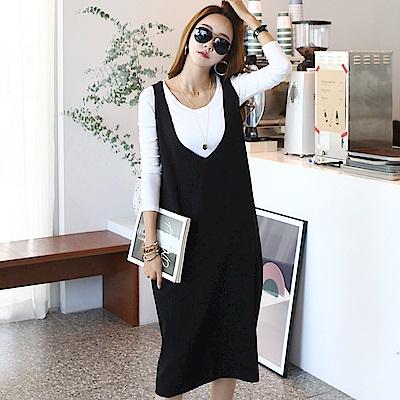 正韓 寬鬆肩帶V領針織連身長裙 (黑色)-N.C21