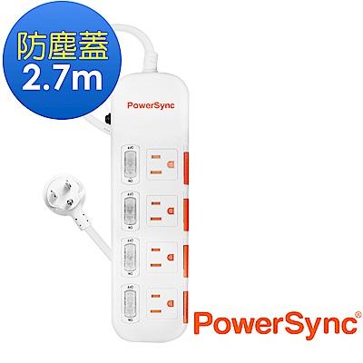 群加 PowerSync 四開四插防塵防雷擊延長線/2.7m(TPS344DN9027)