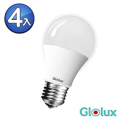 【Glolux】北美品牌 8W大廣角LED燈泡950流明4入-白光