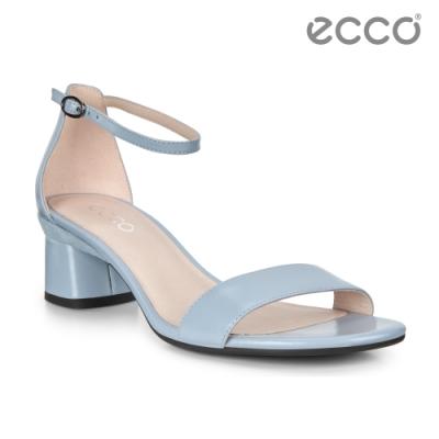 ECCO ELEVATE 45 BLOCK SANDAL 氣質繫帶高跟涼鞋 女鞋-粉藍