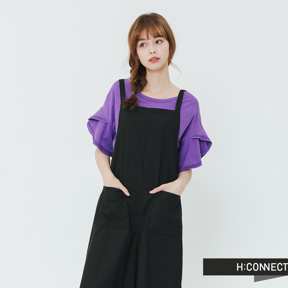 H:CONNECT 韓國品牌 女裝-雙口袋細肩連身寬褲-黑