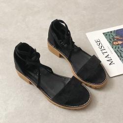 KEITH-WILL時尚鞋館 特惠款羅馬風魚口粗跟涼鞋 黑