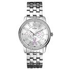 GUESS 粉紅氣泡雙環晶鑽淑女腕錶-銀X粉紅-W0032L1