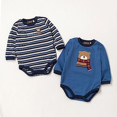 PIPPY 條紋小熊包屁衣2件組 藍